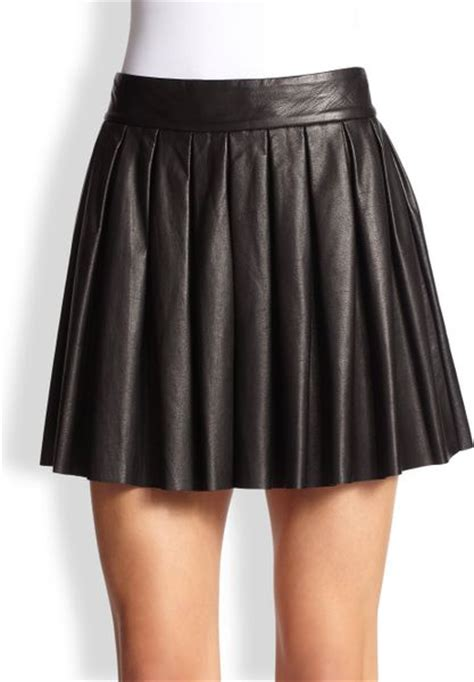pleated leather skirt in black lyst