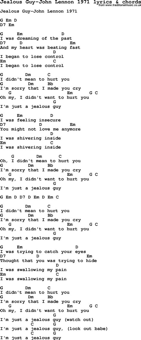 printable jealous lyrics love song lyrics for jealous guy john lennon 1971 with chords
