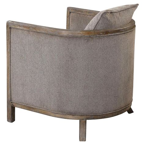Chenille Armchair by Ebba Lodge Rustic Wood Grey Chenille Armchair Kathy Kuo Home