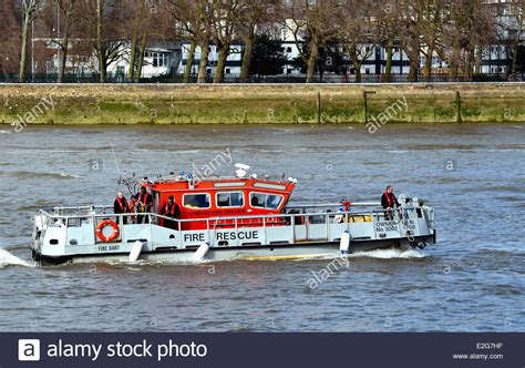 river thames boat fire london fire brigade boat on river thames london stock