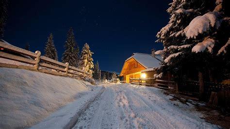 hd snow night stars wood fence pine trees hd widescreen