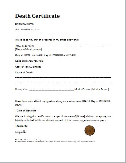 death certificate template for ms word document hub