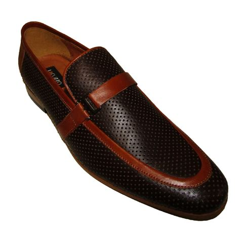 loafers in leather lacuzzo mod italian perforated leather loafers in brown