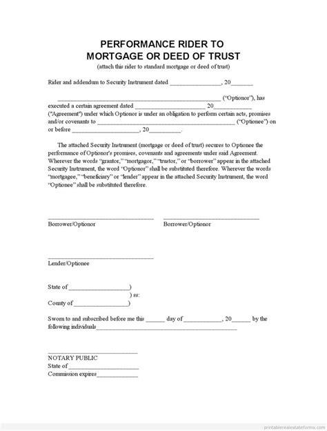 printable perf mortgage addendum 3 template 2015 sample