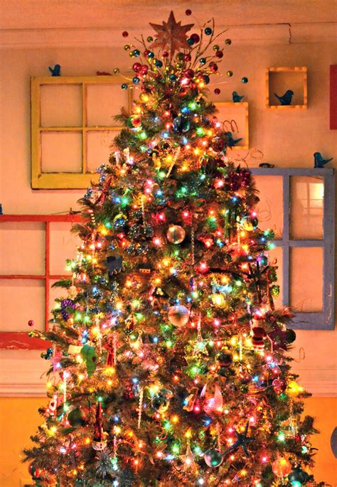 White Christmas Tree With Colored Lights Lamps Ideas