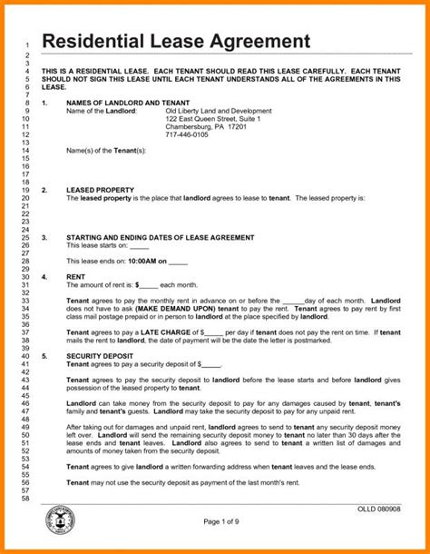 lease agreement template pdf lease agreement pdf template business