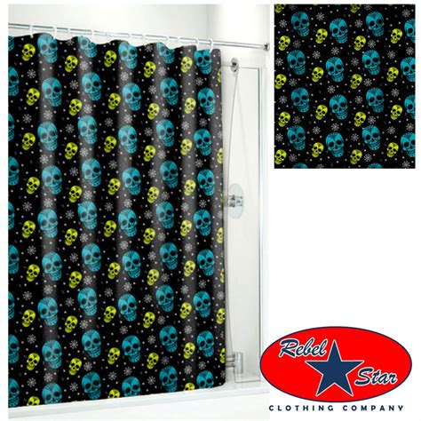 punk shower curtains sugar skull ink shower curtain rockabilly tattoo punk
