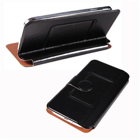 Sarung Universal 5inch universal 4 5 5 inch phone smartphone black leather flip cover stand ebay