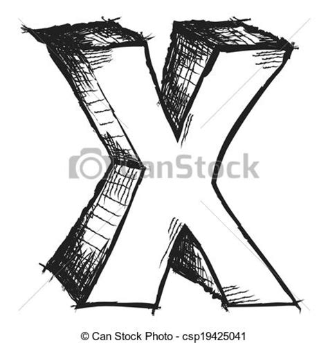 Drawing X by Sketchy Letter X Isolated On White Drawing