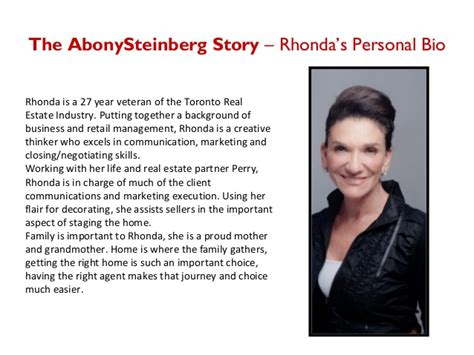 Rhonda Abony Perry Steinberg Business Profile New Real Estate Bio Template