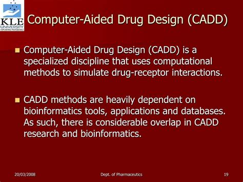 computer aided design drug adalah ppt applications of bioinformatics in drug discovery and