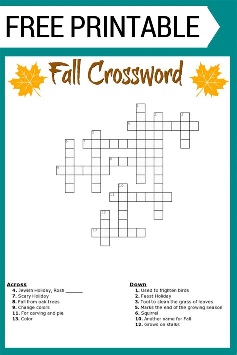 printable puzzle free fall crossword puzzle free printable