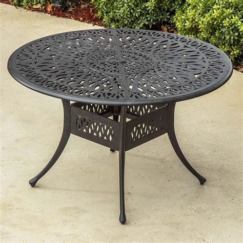 Metal Patio Table Rosedown 48 Inch Cast Aluminum Patio Dining Table By Lakeview Outdoor Designs