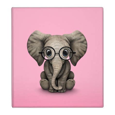 baby elephant with reading glasses pink binder zazzle