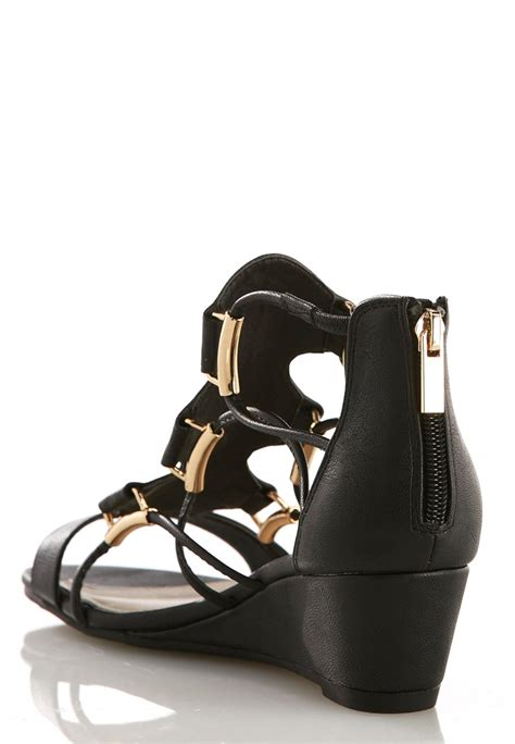 wide width corded gladiator wedge sandals wedges cato