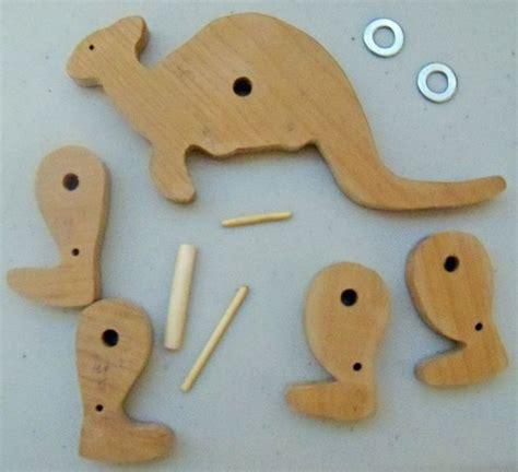 wood kangaroo pattern designing hopping animal and comic book character toys