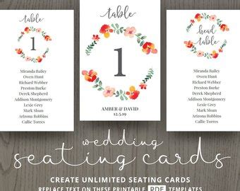 Guest Table Cards Template by Flower Name Card Etsy