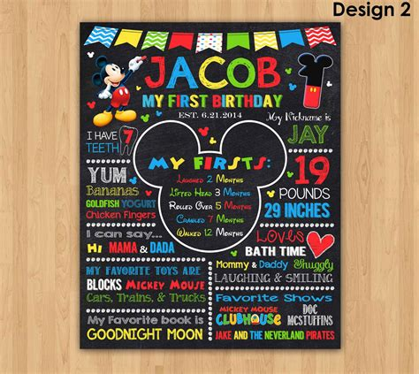 mickey mouse chalkboard poster mickey mouse birthday