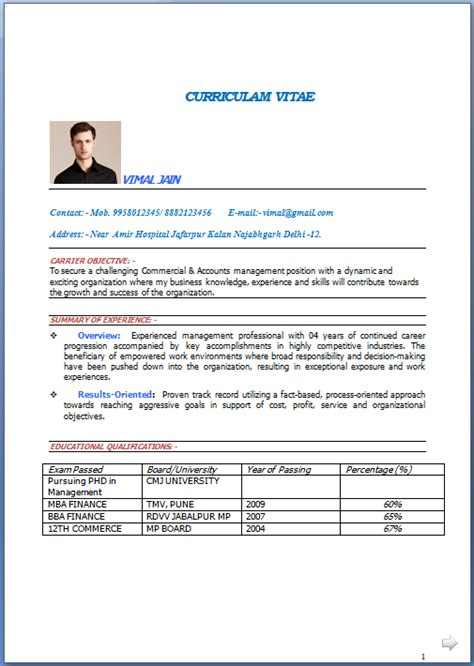Top 10 Resume Sles For Freshers Free Top 10 Cv Templates