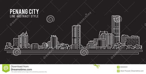 design art penang cityscape building line art vector illustration design