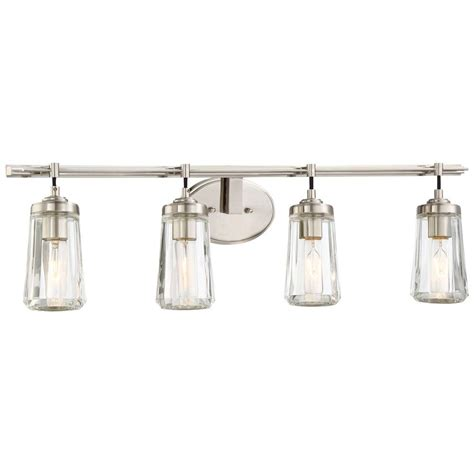 Minka Lavery Bathroom Lighting Fixtures Minka Lavery Poleis 4 Light Brushed Nickel Bath Light 2304 84 The Home Depot