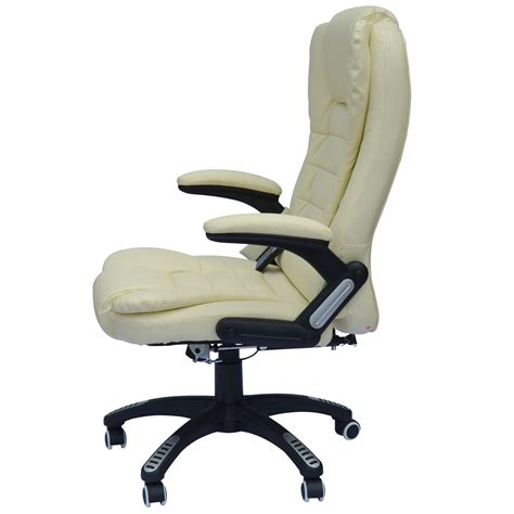 Reclining Computer Desk Homcom Deluxe Reclining Leather Office Computer Chair 6 Point Chairs Seating