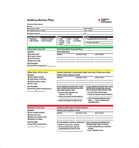 out of plan template asthma plan template 13 free sle exle