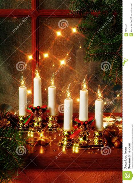 Electric Candles For Windows Decor Decoration On Window Sill Stock Photography Image 5858992