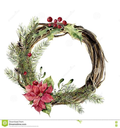 watercolor christmas wreath with decor new year tree and