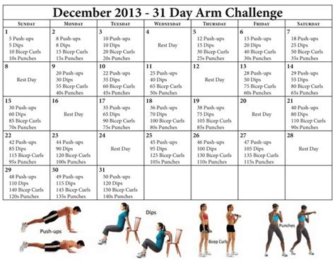 30 day arm exercise challenge 30 day arm challenge for fitness health