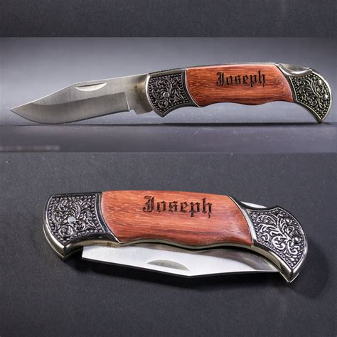 personalized knifes personalized pocket knife knife engraved rosewood