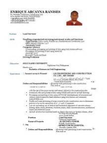 Land Surveyor Resume Exles by Cv Land Surveyor