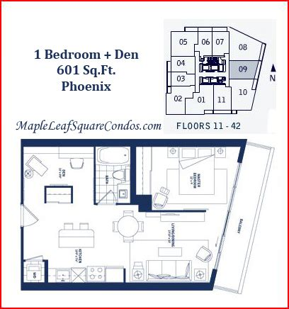 one bedroom and den maple leaf square floor plans