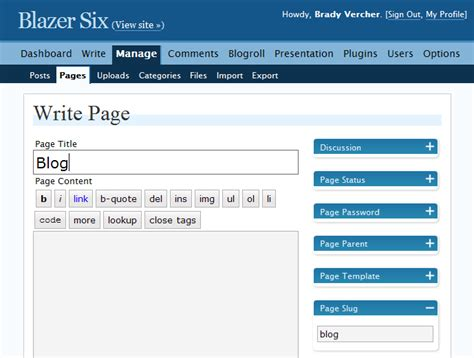 blogger pages using wordpress as a cms for small business websites
