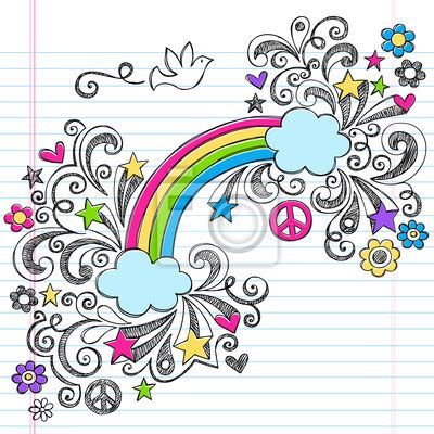 rainbow doodle drawing wall mural rainbow dove and peace sign sketchy notebook