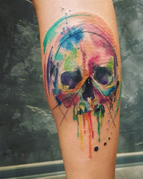 watercolor skull tattoo the coolest skull tattoos you ll see 50 photos