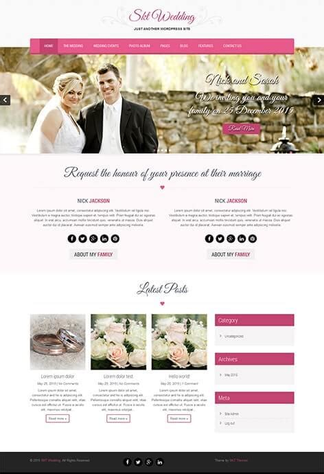 free wedding wordpress theme for wedding couples and site