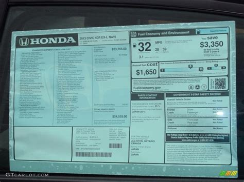 2013 honda civic ex l sedan window sticker photo 74749103