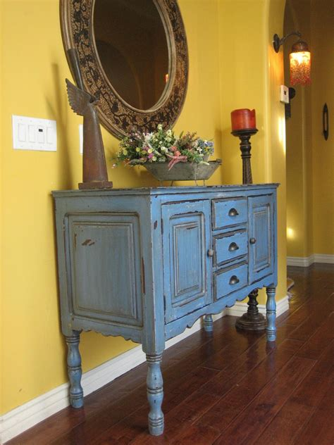 blue buffet european paint finishes rustic blue buffet