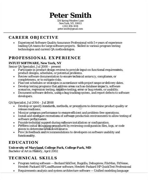 Standard Resume Exles by Quality Assurance Sle Resume 28 Images Quality Resume