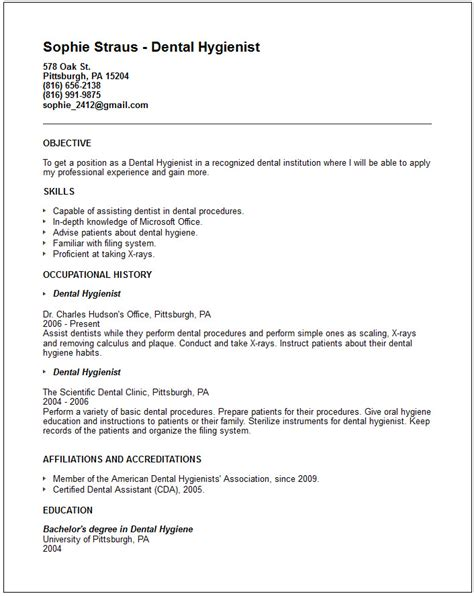 Dental Hygienist Resume Exle by Nursing Resume Exles