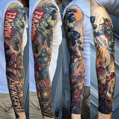 marvel sleeve tattoo guys marvel sleeve tattoos tatuaż