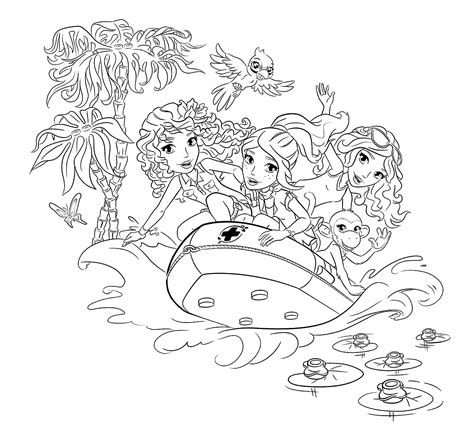 lego friends coloring pages emma lego rubber boat coloring page for girls printable free