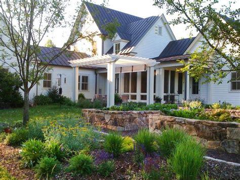 charming farmhouse  wildflower garden  pergola hgtv