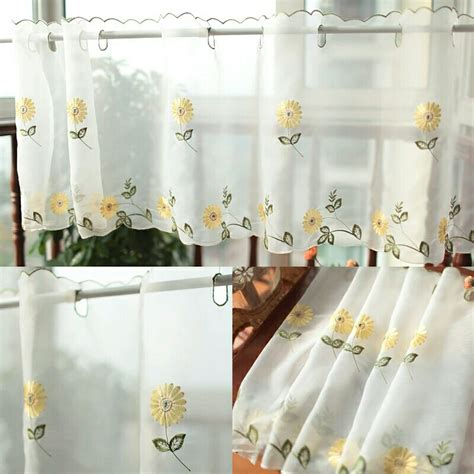 Coffee Kitchen Curtains Customized 85 180cm Pastoral Style Fresh Embroidery Kitchen Cabinet Curtains Coffee