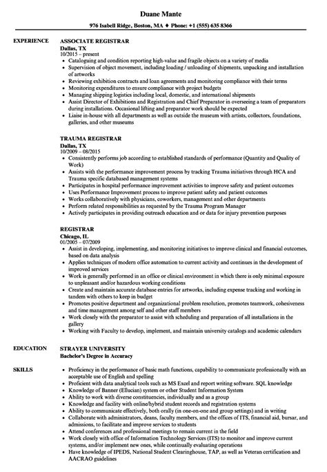 Certified Tumor Registrar Sle Resume by Registrar Resume Sles Velvet