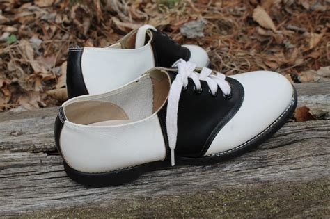 black and white saddle shoes vintage 1950s saddle shoes black white leather by