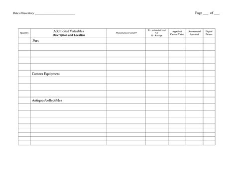 church inventory template 12 best images of food inventory worksheet food