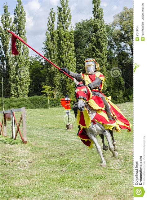 couched lance tudor knight charging editorial photo image 43373156