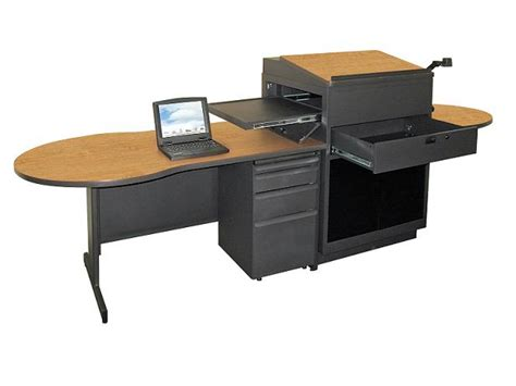 Media Workstation Desk by Marvel Desk W Media Center Lectern Acrylic Doors Mvlda7230 Desks